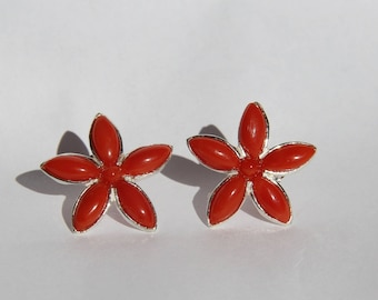 Earrings with genuine red coral from Corsica and sterling silver