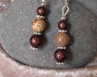 Earrings Brown and beige balls natural silver magic beads and stone