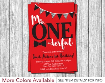 Mr. ONEderful Birthday Invitation | Mr One-derful First Birthday Invitations | Red, Black and White