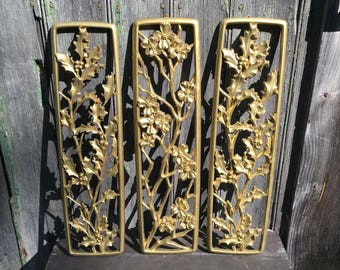 Syroco Three Hollywood Regency gold wall panels holly and dogwood 1954