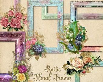 Rustic Floral Frames Clip Art, Digital Photo Frames, Wood Frame Clipart,  Vintage Shabby