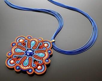Colored soutache necklace.