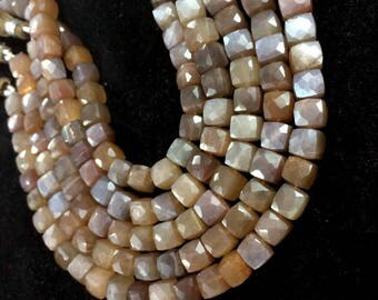 AAA quality brown moonstone faceted loose gemstone 3D cube briolettes beads chocolate moonstone beads wholesale price supplier