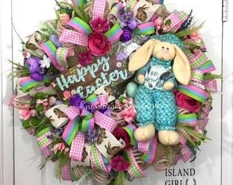 Easter Sale, Easter Wreath, Easter Wreaths, Easter Wreath For Front Door, Deco Mesh Eastet Wreaths, Easter Bunny Wreath