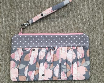 Grey and pink floral wristlet