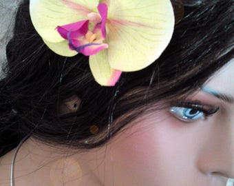 Green Orchid hair clip
