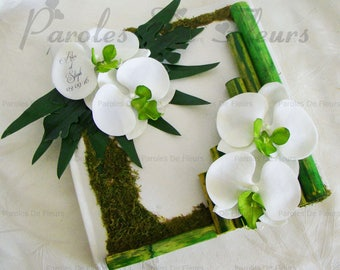 Orchids bamboo guestbook green artificial customize lime/white