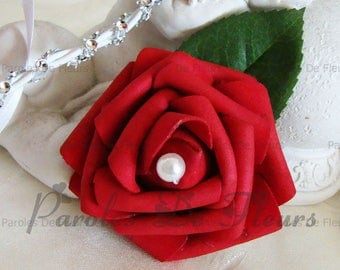 Pearl color choice and red rose hair clip