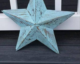 12 inch wooden turquoise star made from reclaimed wood