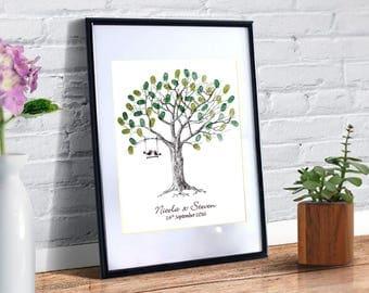 Personalised Wedding Fingerprint Tree With Love Birds