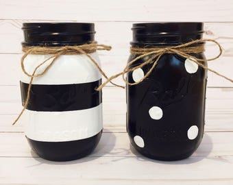 Set of 2 Black and White / Polka Dot / Stripes Mason Jar