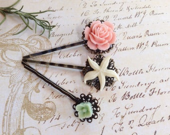 Pastel Victorian Peach Rose And Starfish Flower Hair Clips
