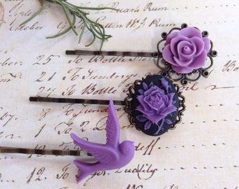 Purple Passion And Black Rose Hair Clips