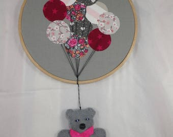 Tableau017 - Grey and pink Teddy bear wall hanging from balloons