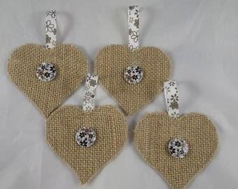 Noel29 - 4 ornaments in beige and Brown burlap hearts