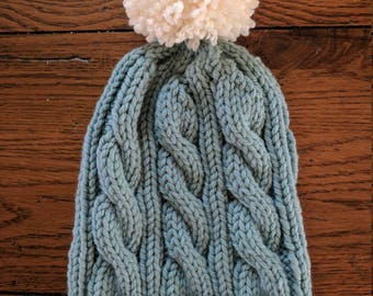 Hand Knit Wool Cable Hat in Teal Blue / Hand Knit Pom Pom Hat /