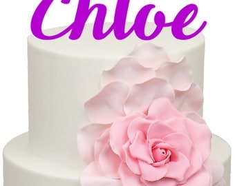 Handwriting font Personalised name Birthday Acrylic Cake Topper