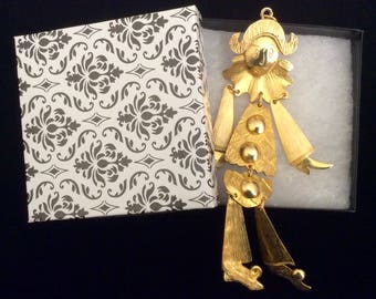 Large Articulated Court Jester Clown  Pendant in Goldtone
