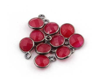 MEGA SALE 10 Pcs Pink Chalcedony Oxidized Silver Faceted Round Single Bail Pendant - 10mmx7mm SS593