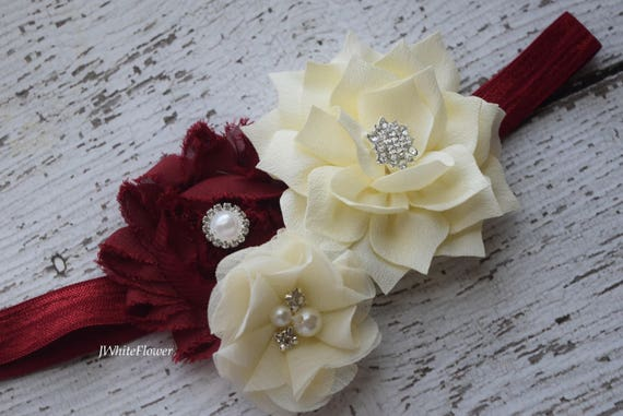 Burgundy ivory headband,Shabby Flowers Baby Headband, Newborn Headband,  Infant Headband,Baby Headband, Headband Baby