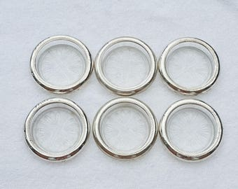 Vintage Sterling Silver Rim Crystal Glass Coasters by FB Rogers ~ Set of 6