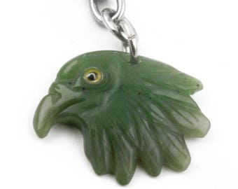 Canadian Nephrite Jade Keychain, Eagle