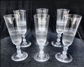Set of 6 Needle Etched Crystal Champagne Flute circa 1920s