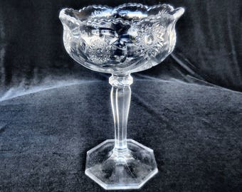 Antique Pressed Glass Open Compote with Hobstars and Swags circa 1900
