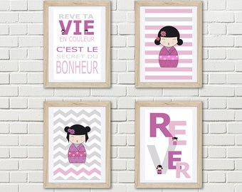 kokeshi poster - 4 posters of japanese doll with french words, girl wall decor, gift girl