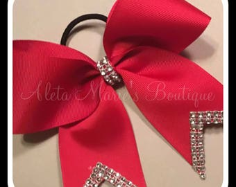 "2 1/4"" Solid Red Cheer Bow with Bling ~ Softball Bow ~ Volleyball Bow"