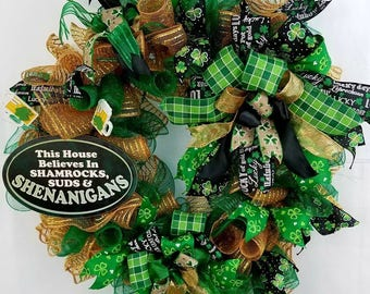 St Patrick's Day Wreath.Home Decor, Door Decor,  Green, Gold,