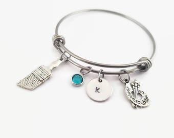 Artist bangle, artist bracelet, art palette charm, personalized bangle, gift for artist, paint brush, jewelry for artist, gift for her