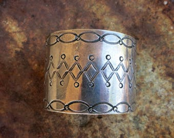 """Early Navajo Bracelet, 63 Grams, 1 3/4"""" Wide, Coin or Sterling Silver, Unmarked"""