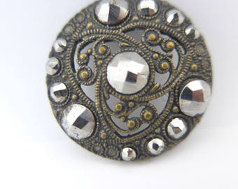 Antique Victorian Cut Steel Pierced Gilt Metal Button