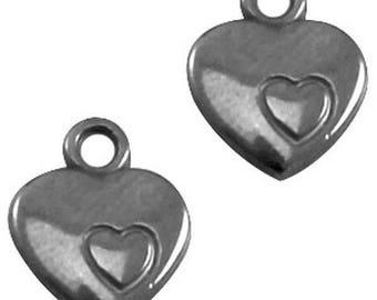 "DQ Metal pendant, charm ""Herz""-1 piece-Silver grey-Zamak, gold plated"