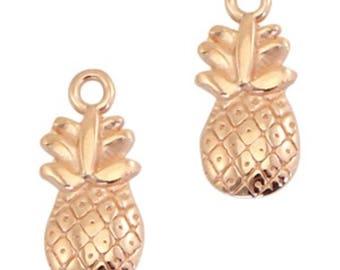 """DQ Metal Pendant """"pineapple"""", Charm-2 pcs.-Zamak-color selectable (color: Gold)"""