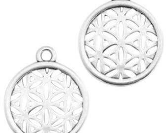 """DQ Metal pendant, charm """"floral pattern""""-1 piece-Zamak-color selectable (color: silver)"""