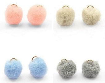Pompom pendant, pom Poms, Pom Pons-5 pcs-Ø 15 mm-colour selectable (colour-grey)