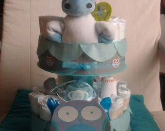 """OWL"" boy diaper cake"