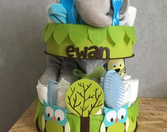 The z customizable diaper cake ' natures owls