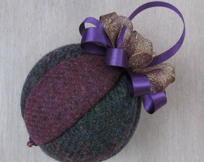 Harris Tweed Purple Tones Luxury Christmas Tree Bauble   #102