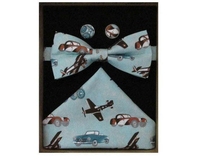 Vintage Transport Bow Tie Cufflink and Handkerchief Boxed Gift Set