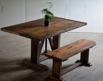 Classic Truss Farmhouse Table - Reclaimed Barnwood Trestle Table