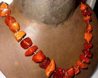 antique 100% NATURAL BALTIC AMBER butterscotch egg york necklace 72g