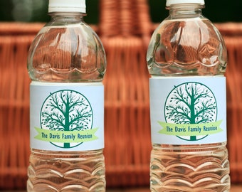 Family Reunion Water Bottle Labels. Family Tree Bottle Stickers. Personalized Family Reunion Favors. Waterproof BBQ, Picnic, Party Favors