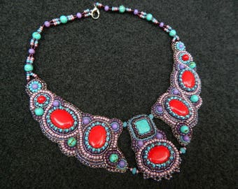 for woman gift necklace jewelry her bead embroidered handmade embroidery Art nature hand stone Beadwork natural evening