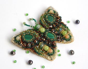 Butterfly brooch jewelry Butterfly gift for mothers Brooch green butterfly Butterfly wing jewelry Butterfly beaded brooch Beaded embroidery