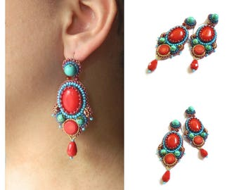 Ethnic embroidered red blue earrings Beadwork coral earrings Original beaded embroidery earrings handmade Long bead earrings for women