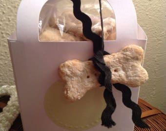 Homemade milk bone dog biscuits/ bone shaped/ package of 30/ puppy/ dog treats