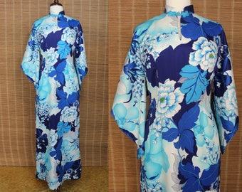 Hawaiian Dress.....70's Blue Floral Pake Mu Muumuu Luau Dress Tiki Dress